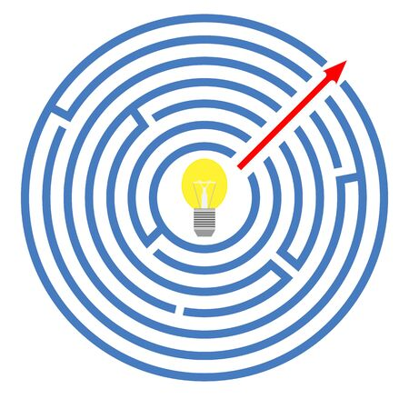 Circular maze with arrow which indicates the shortest path through the labyrinth from center to exit. Simple way solution problem. Glowing bulb inside. Vector isolated illustration in flat design.