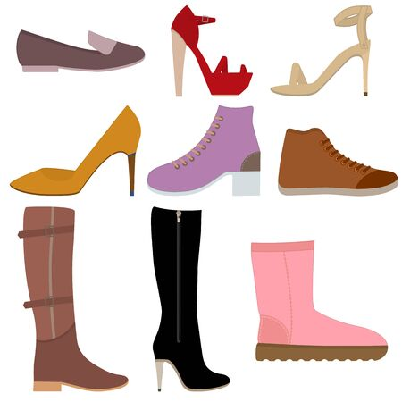 Set with different of women's shoes. Various types of female footwear. Set of Isolated flat colored icons. Vector illustration. Shoes, boots, sandals for different seasons. Collection of woman shoes.