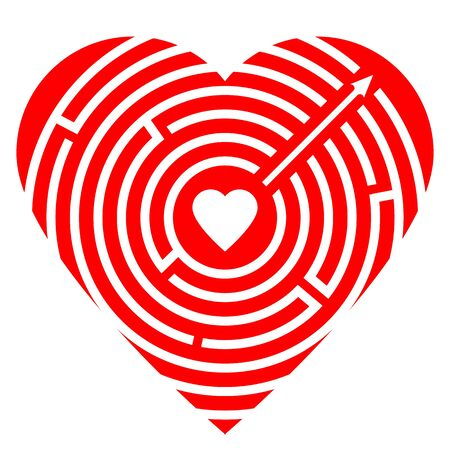 Soul path. Love concept. Red big heart with round labyrinth and small heart inside maze. Arrow exit. Love symbol for website design. Vector illustration isolated on white background. Vector Illustration