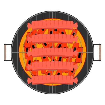 Round barbecue grill with hot coal and with fried fragrant sausages. Top view. Flat style, vector illustration.