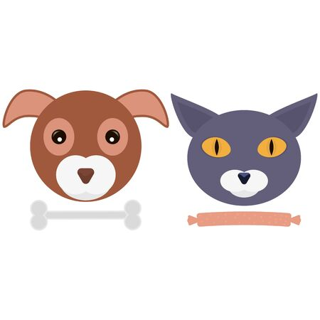 Cute funny heads of cat and dog together with food. Best friends. Vector illustration.