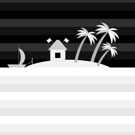 Tropical island in the ocean with house, boat and palm trees in monochrome style. Relaxing night landscape. Boat with a sail and a hut. Rest in the resort. Vector illustration. Flat style.