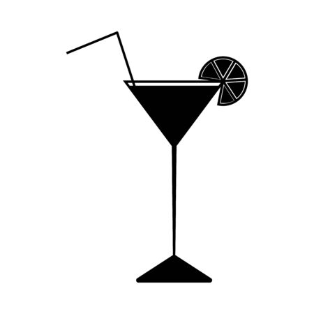 Silhouette cocktail with tropical citrus fruit slice and straw. Vector icon. 向量圖像