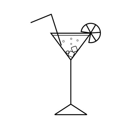 Cocktail with tropical citrus fruit slice, cubes ice and straw. Vector outline icon.