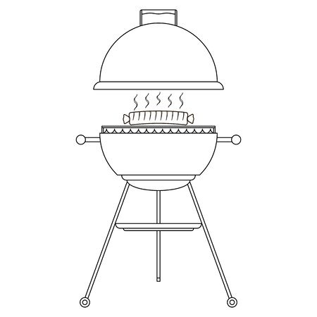Barbecue grill with sausage. Transparent badge. Outline icon. Isolated graphic vector illustration in flat style.