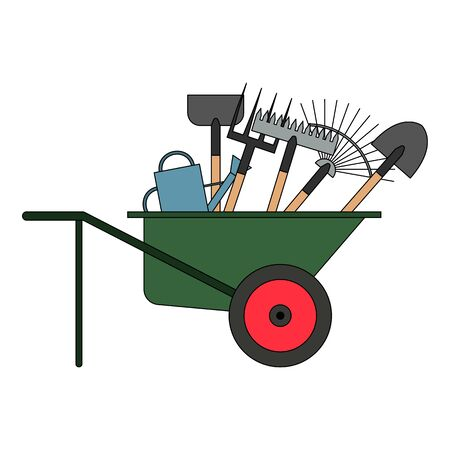 Set of various gardening tools in a wheelbarrow. Items for gardening and farming. Set of farm tools. Garden instruments collection. Vector illustration.