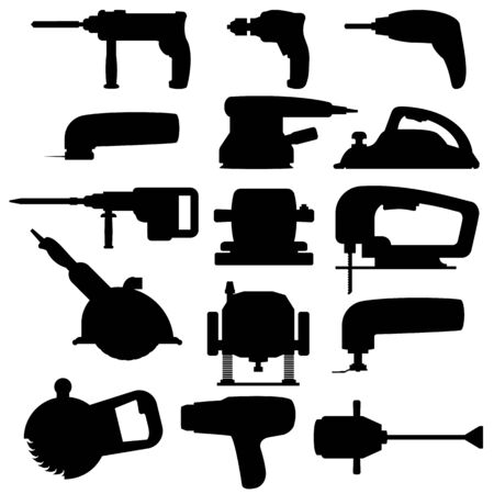 Silhouette black icons of electric power tools for construction and renovation. Collection home and industrial building tools and equipment for repair. Vector illustration. Set isolated icons. Vettoriali