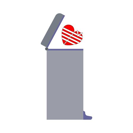 Divorce and farewell concept. Broken bandaged red heart thrown into the trash can. Vector illustration.