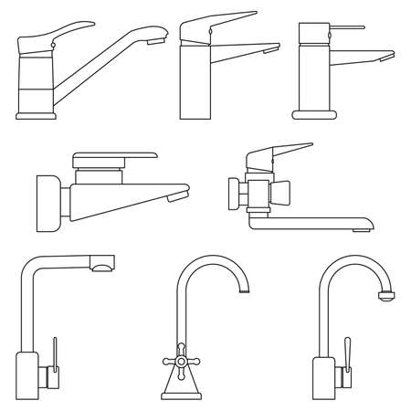 Set of icons water taps, faucets for bathroom and kitchen on white background. Transparent and outline icons. Vector illustration.