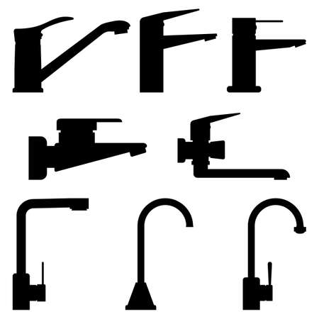Set of black silhouettes faucets for bathroom and kitchen. Water tap icons. Isolated graphic vector illustration.