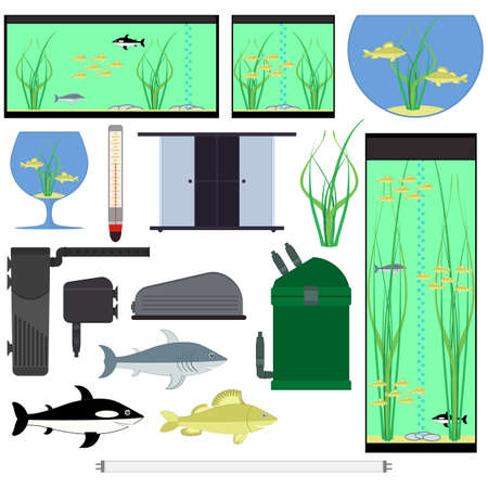 Equipment for aquarium. Underwater vector elements with fishes plants stones seaweeds. Aquariums of different shapes. Isolated on white background. 写真素材 - 150644283