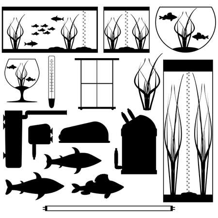 Equipment for aquarium. Silhouettes underwater vector elements with fishes plants stones seaweeds. Aquariums of different shapes. Isolated on white background.