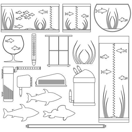 Equipment for aquarium. Transparent outline underwater vector elements with fishes, plants, stones, seaweeds. Aquariums of different shapes. Isolated on white background.