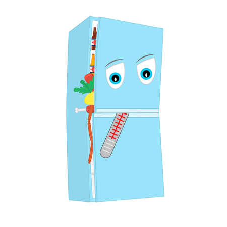 Sad refrigerator filled with food. With a thermometer in the mouth. Animated cartoon character on white background. Isolated graphic vector illustration.