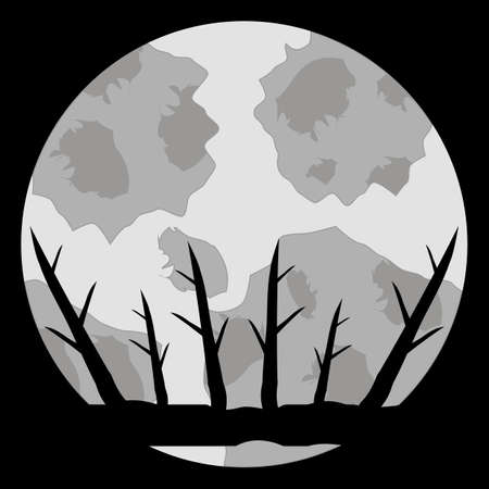 Moon and tree branches. Night mystical landscape. Vector illustration.  イラスト・ベクター素材