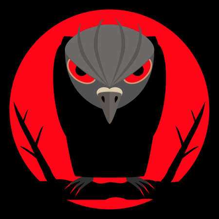 Black raven with scary bloody eyes and sharp claws on night background and of a large red moon. Dark silhouette with evil look. Halloween background. Vector illustration.