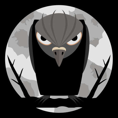 Black raven with scary eyes and sharp claws on night background and of a large pale moon. Dark silhouette with evil look. Halloween background. Vector illustration.