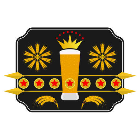 Glass of craft beer and barley ears. Vector illustration in flat style.