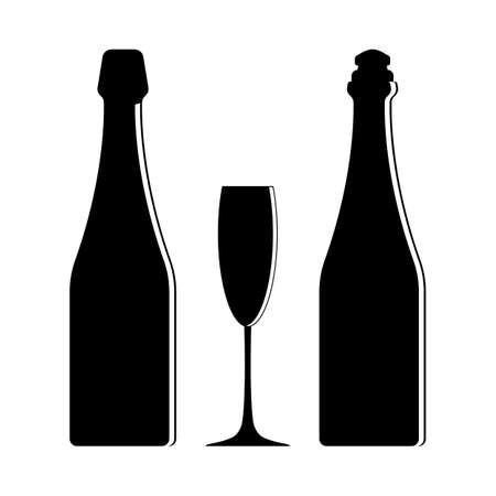 Silhouettes of two champagne bottles with a wine glass. Vector isolated illustration.