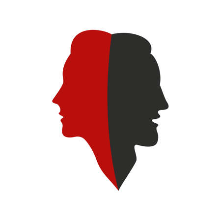 Male and female concept. Black and red silhouettes of man and woman together as one. Adult man and woman in profile. Vector illustration. Ilustracja