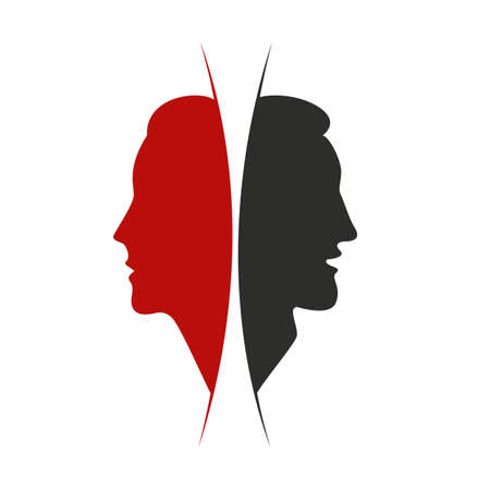 Male and female concept. Black and red silhouettes of man and woman as opposites. Couple faces in profile. Vector illustration. Ilustracja