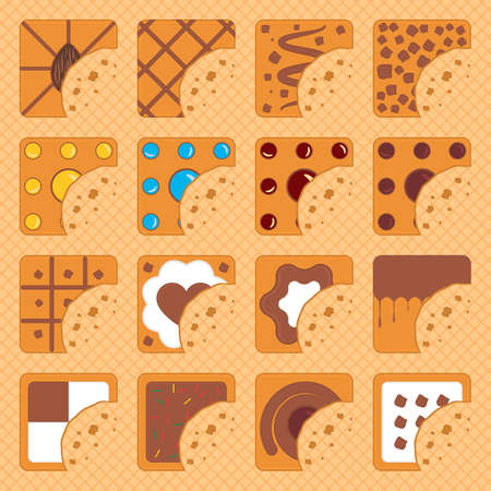 Set of bitten square cookies with crumbs on a waffle background. Vector illustration. Illusztráció