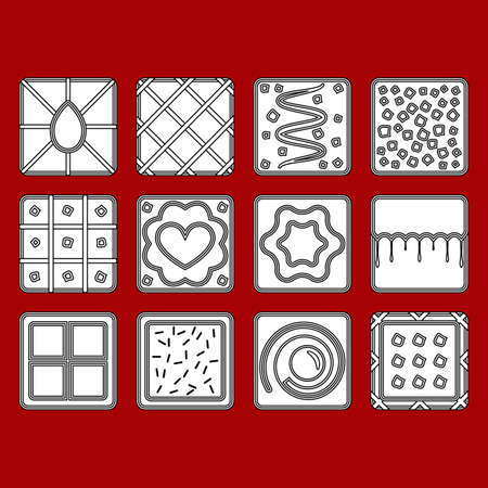 Set of cookie outline icons on red background. Biscuits with different patterns. Vector illustration. Illusztráció