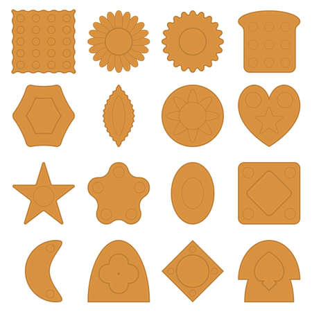 Set of cookie icons of different shapes. Biscuits with various patterns. Vector illustration. Illusztráció