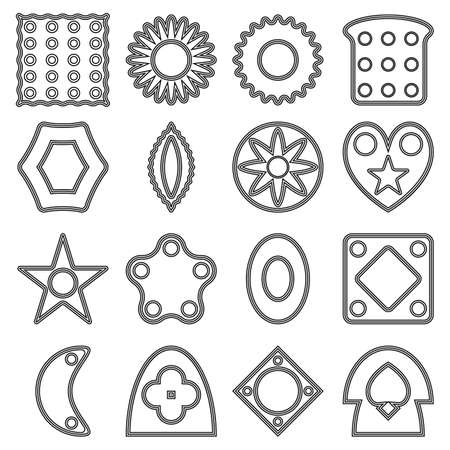 Set of simple different shapes for coloring. Vector illustrations for little children. Contour and transparent shapes.