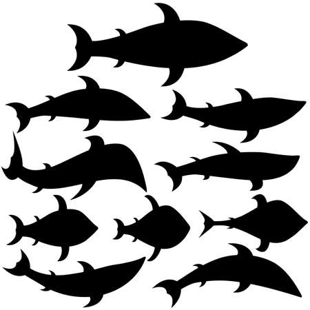 Set of icons fishes of different shapes and types. Black silhouettes. Vector illustrations. Illusztráció