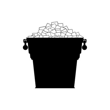 Pail with white ice. Silhouette small metal bucket with pile square ice cubes. Icon. Vector illustration on white background.