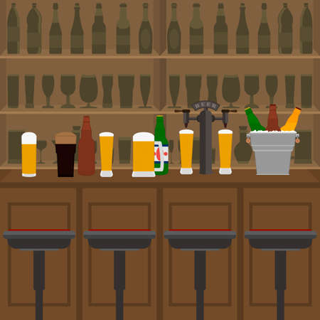 Interior of pub, cafe or bar with counter, glasses of beer, beer pump and ice pail. Inside drinking establishment. Bar counter, chairs and shelves with alcohol bottles on background.