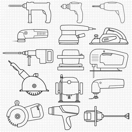 Set of electric power tools. Transparent icons of different power tools for carpentry and construction work including a jigsaw, hammer, circular saw, drill. Isolated illustrations. Outline icons. Иллюстрация