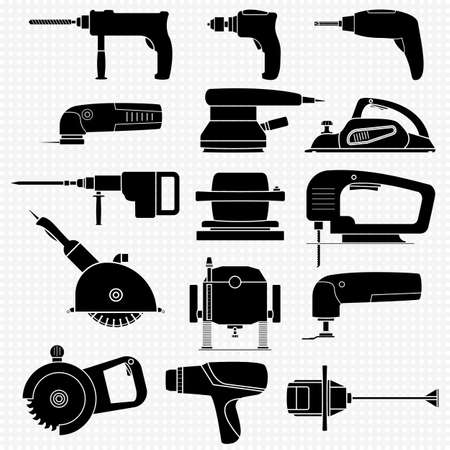 Set of electric power tools for carpentry and construction work. Silhouettes icons of different power tools with transparent elements. Vector isolated illustrations. Including a hammer, saw, drill.