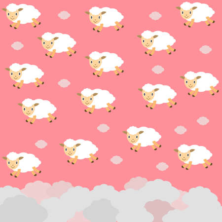 Cute flying white sheep in shape clouds on pink sky background. Set funny sheep for baby and kids. Cartoon lambs.Background with animals. Design for fabric and decor. Flat style. Vector illustration.