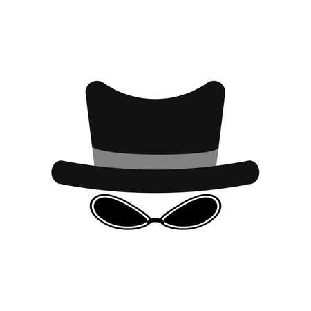 Agent, spy, incognito icon. Hat and glasses. Anonymous and strangers. Vector illustration. Black silhouette.