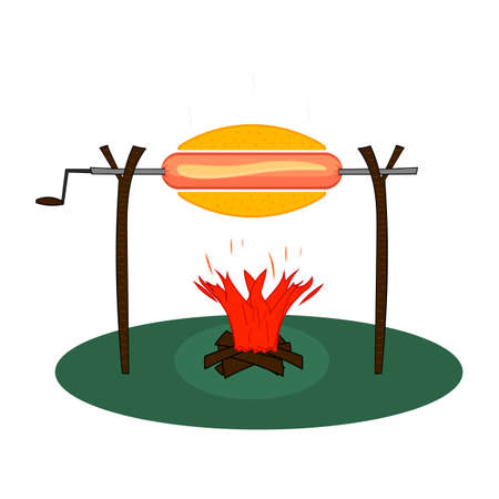Huge hot dog with on a spit roasted on a fire. Sausage on a rotisserie with bonfire with firewood. Flat vector illustration.