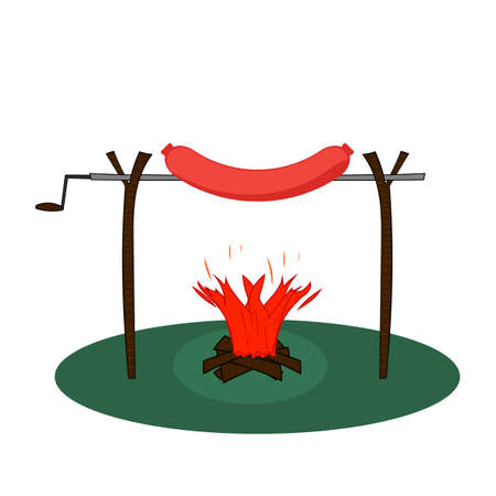 Huge sausage on a spit roasted on a fire. Sausage on a rotisserie with bonfire with firewood. Flat vector illustration.