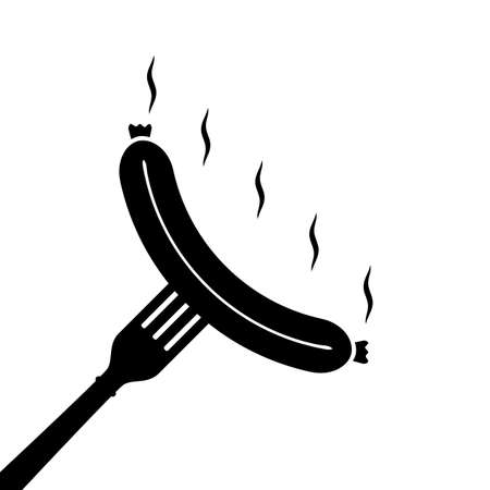 Grilled sausage smiles on fork. Vector silhouette icon on white background. Stock fotó - 155444990