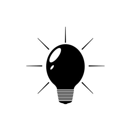 Black light bulb silhouette with black light and rays. Isolated vector illustration on white background.