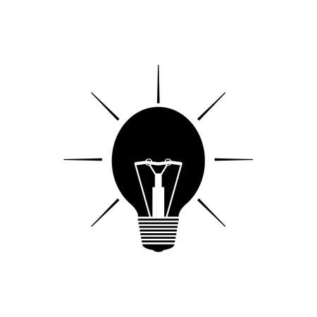 Light bulb silhouette with black light and rays. Isolated vector illustration on white background.