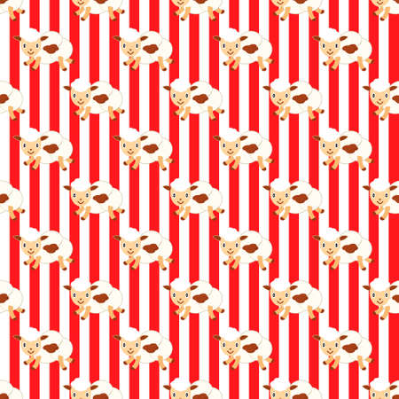 Popcorn in the image of flying lambs. Red white striped background. Popcorn paper bucket seamless background. Vector illustration.