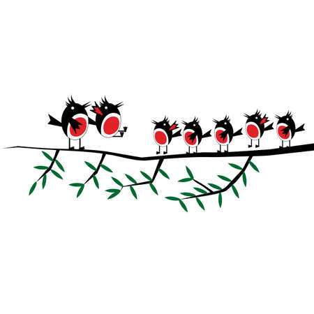 Adult family birds mother and father teach nestlings to fly on a branch. Vector illustration on white background.