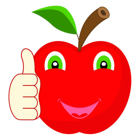 A cute happy cartoon character red apple smiling and giving a thumb up. Mascot Illustration on white background. 向量圖像