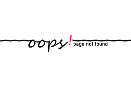 Word, message oops. Disconnect and page not found. Thin line with wire break. Minimal badge fail and error. Vector illustration on white background. 일러스트