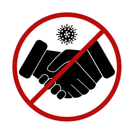 No handshake icon with red forbidden sign. Avoiding physical contact. Red prohibition sign. Viral bacterium covid-19 inside symbol. Vector illustration on white background.