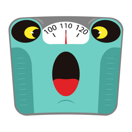 Scared mechanical bathroom scale with big weight on the dial. Concept obesity and unhealthy lifestyle. Cartoon character. Scale with fright on the face from overweight. Vector illustration. 向量圖像
