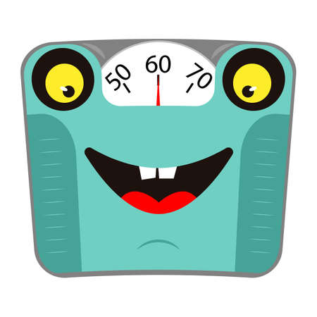 Happy mechanical bathroom scale with face and smile. Concept healthy lifestyle. Cartoon character. Vector illustration.