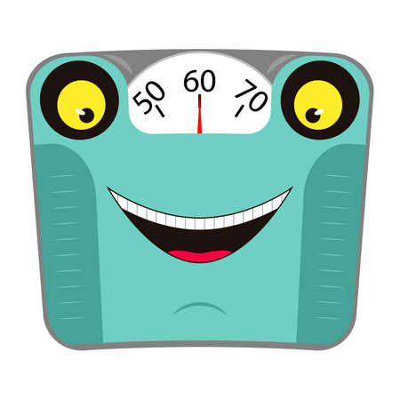 Funny mechanical bathroom scale with face and smile. Concept healthy lifestyle. Cartoon character. Vector illustration.