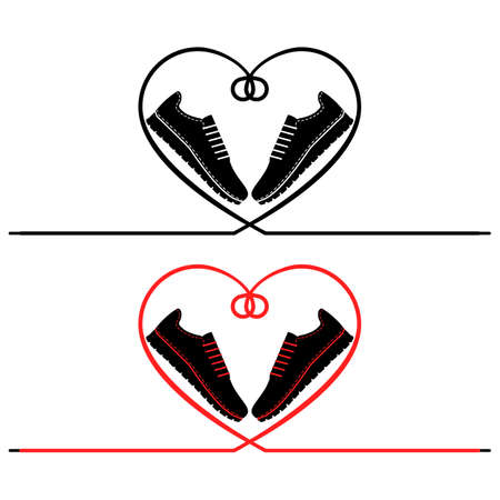 A pair of sneakers and a heart shaped shoelaces. A pair of gym shoes with long laces. Isolated vector illustration on white background. Flat style.
